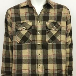 Vintage Sears Flannel Shirt Mens Large 1970s Plaid
